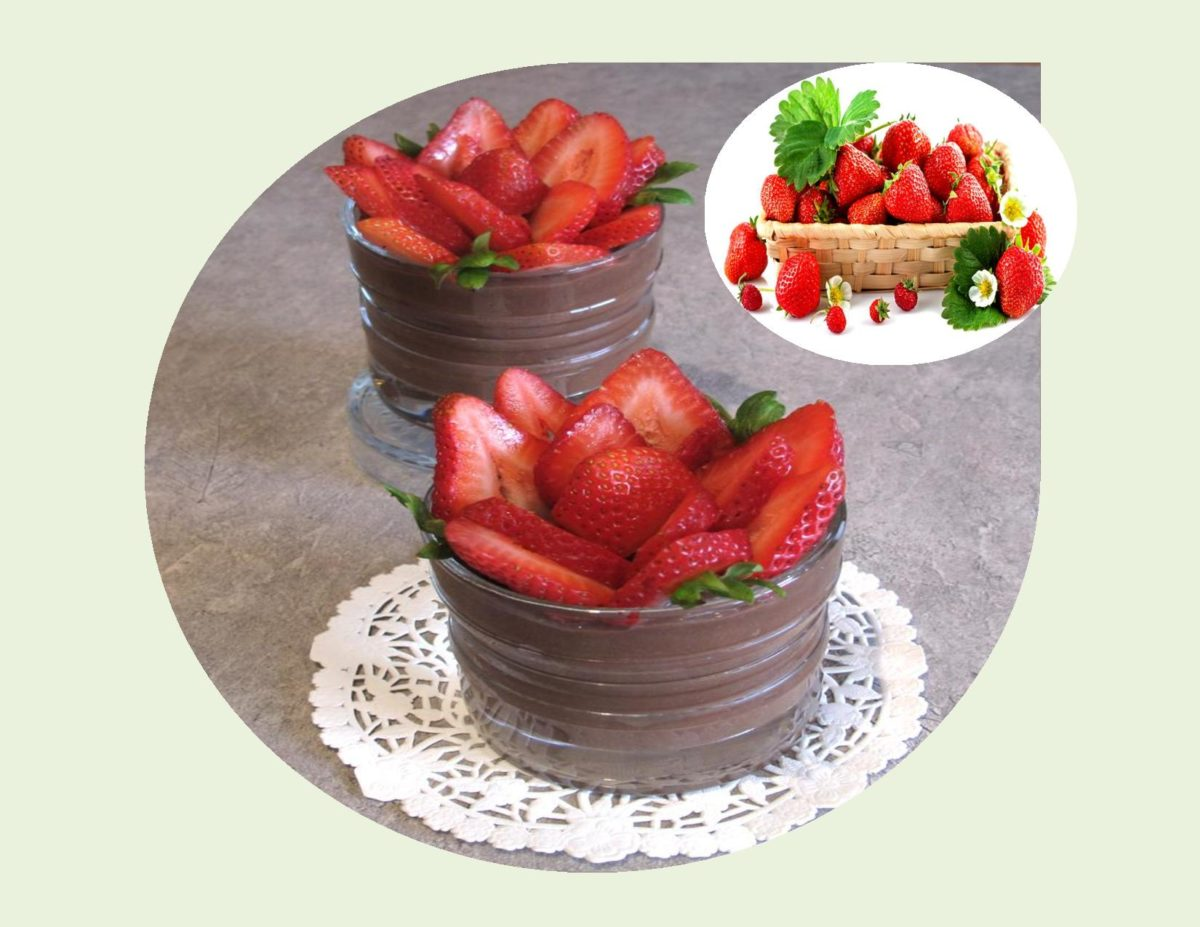 Strawberry Rose with Dark Chocolate Pudding