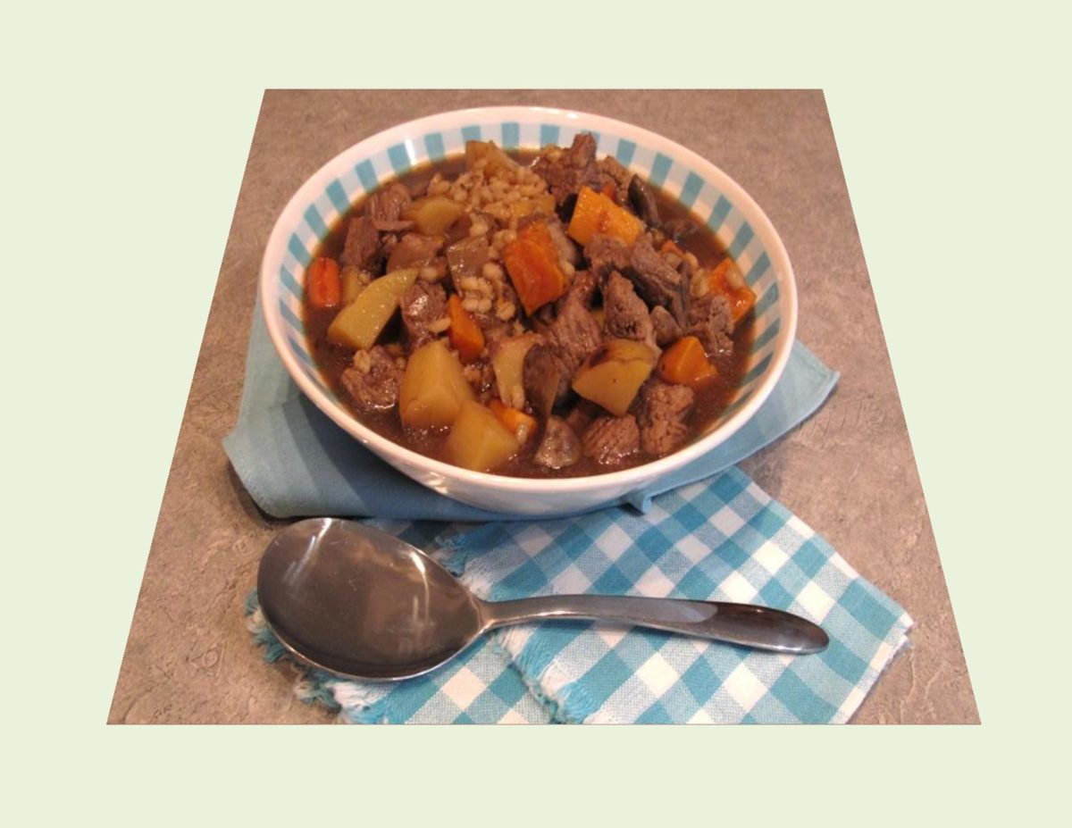 Beef Barley Stew with Roasted Vegetables