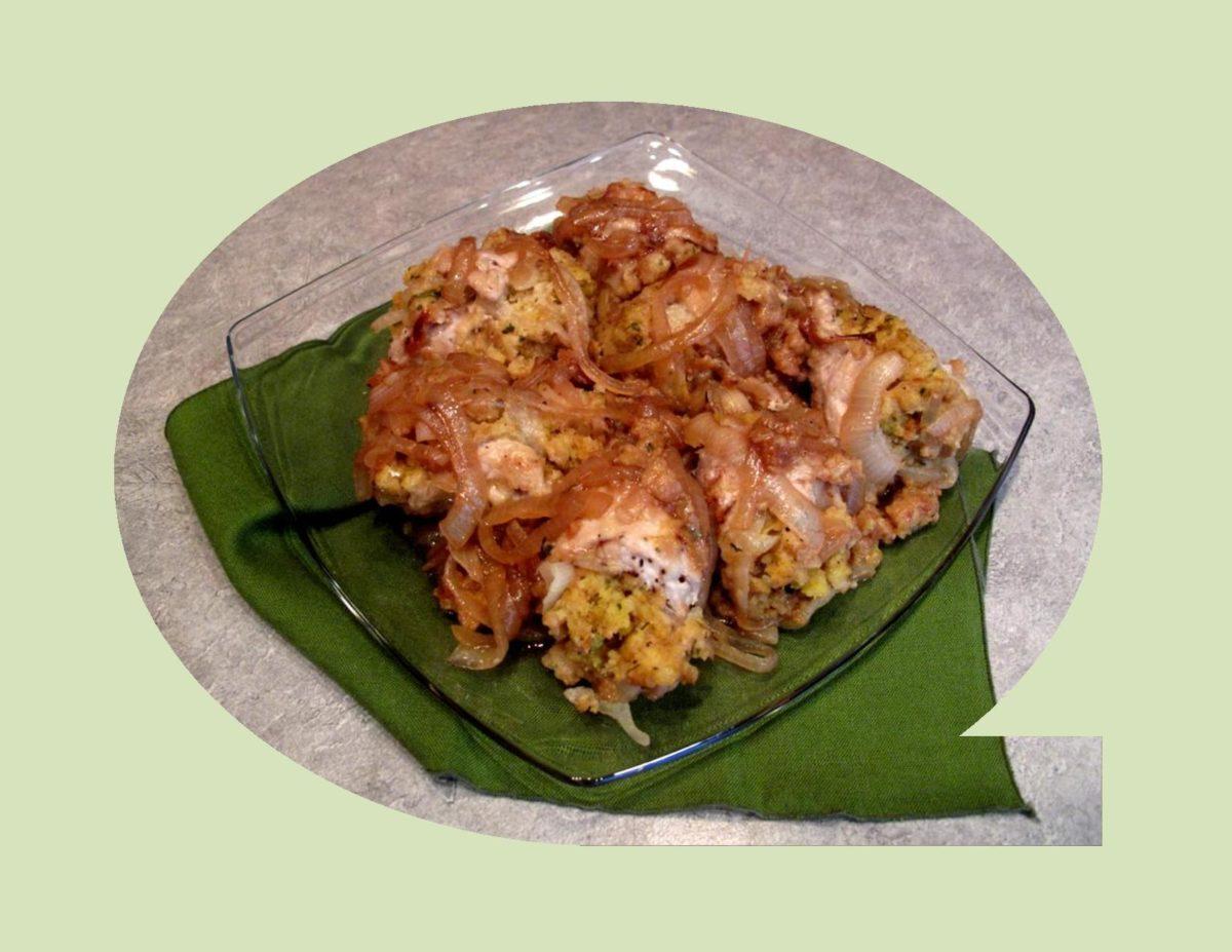 Stuffed Pork Rolls with Cornbread & Caramelized Onions