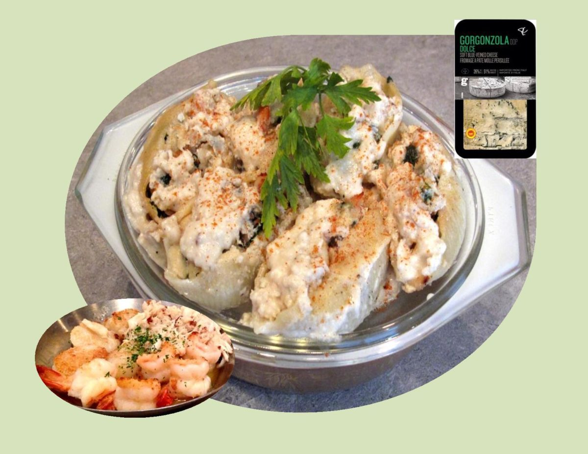 Seafood-Gorgonzola Pasta Shells