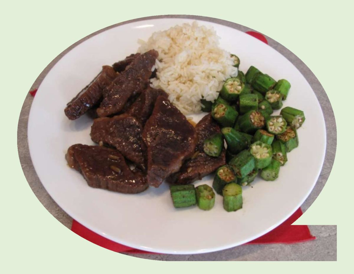 Braised Beef with Stir-Fried Okra