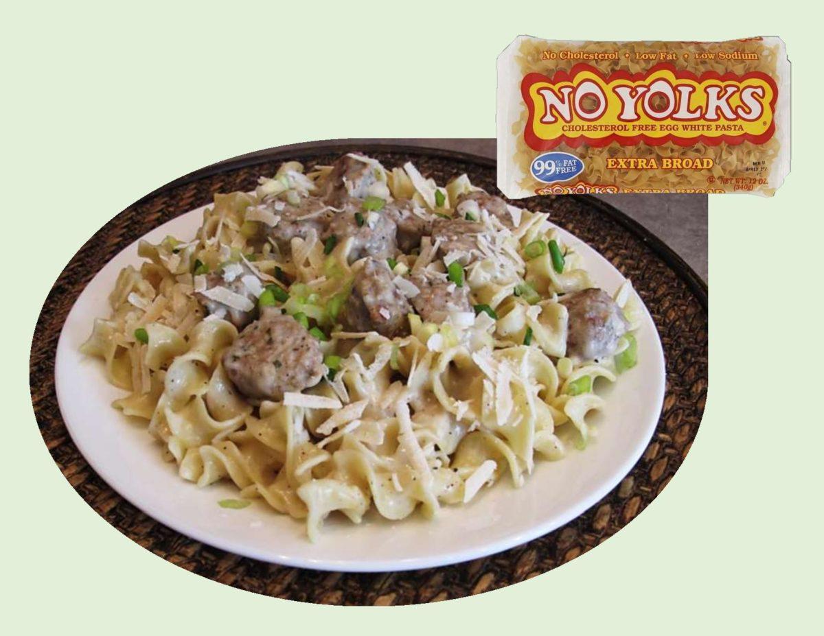No-Yolk Noodles with Chia Chicken Meatballs