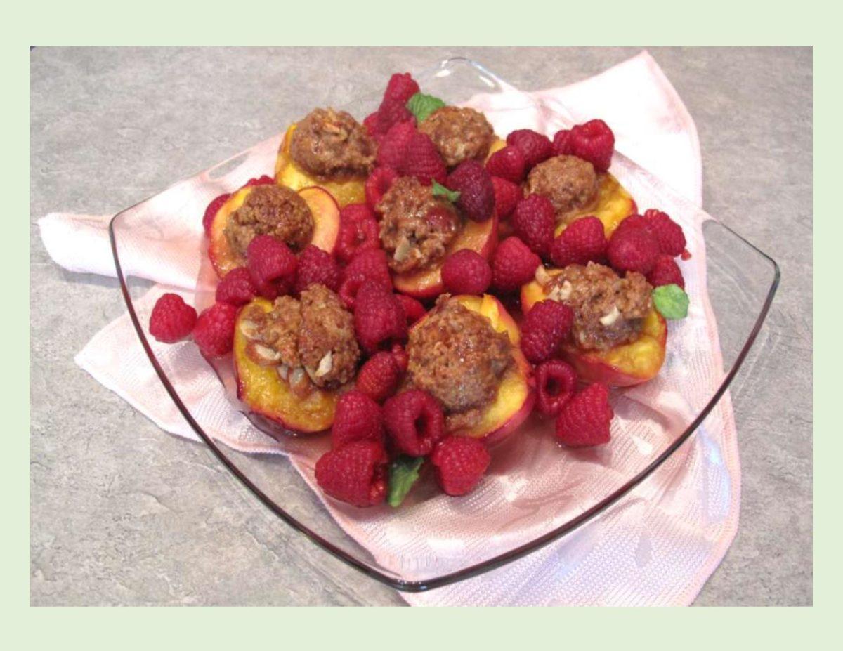 Baked Nectarines & Raspberry Dessert
