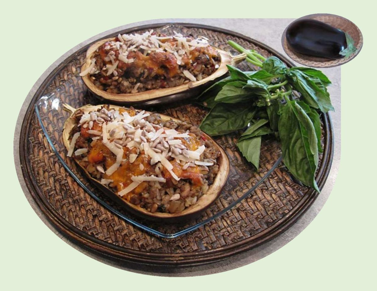Basil Chicken Stuffed Eggplant