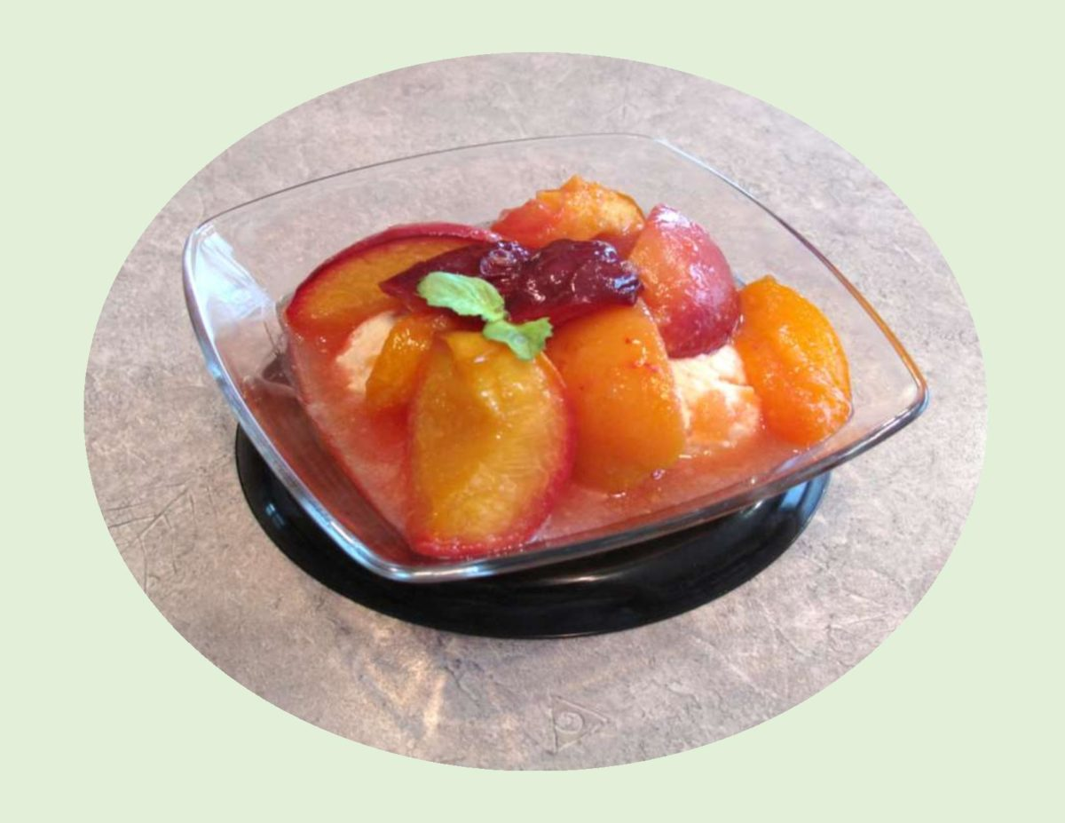 Roasted Summer Fruit with Spiced Mascarpone Cream