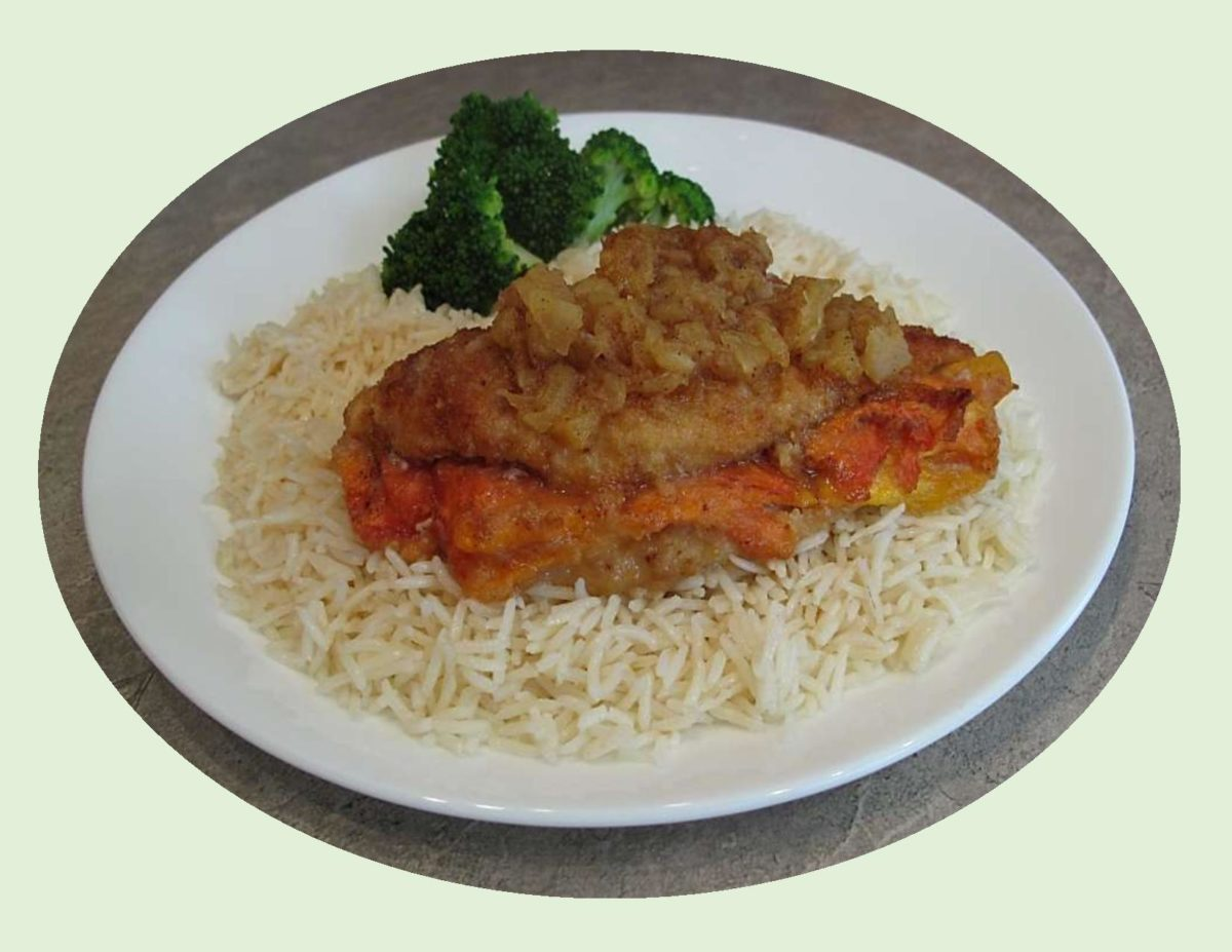 Papaya-Stuffed Chicken Breast with Basmati Rice