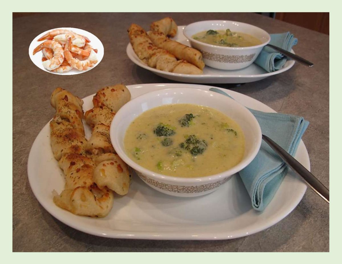 Parmesan-Shrimp Bread Sticks with Broccoli Cheddar Soup