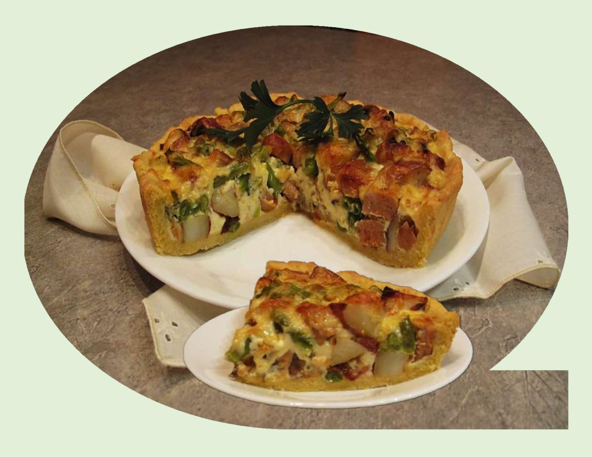 Roasted Potato with Red Pepper/Asiago Sausage Quiche