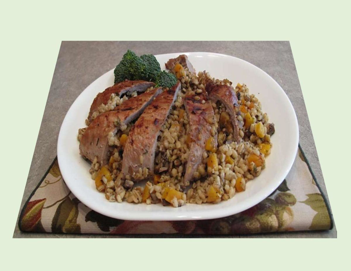 Barley & Apricot Stuffed Pork Tenderloin