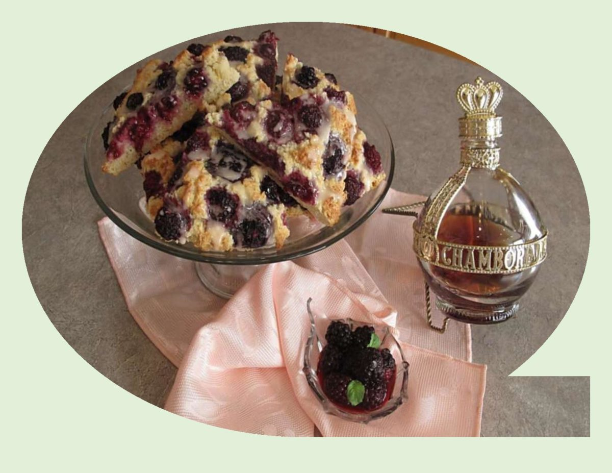 Blackberry Scones with Chambord Glaze