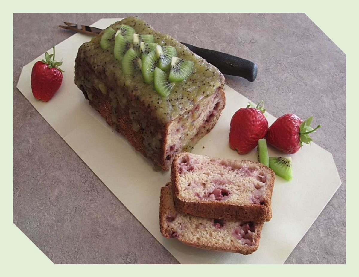 Strawberry Tea Loaf with Fresh Kiwi Glaze