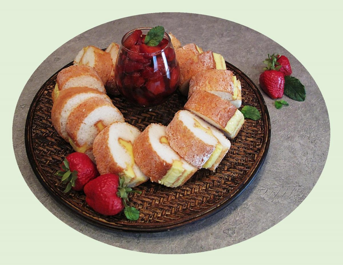 Angel Cake Roll w/ Lemon Cream & Balsamic Strawberries
