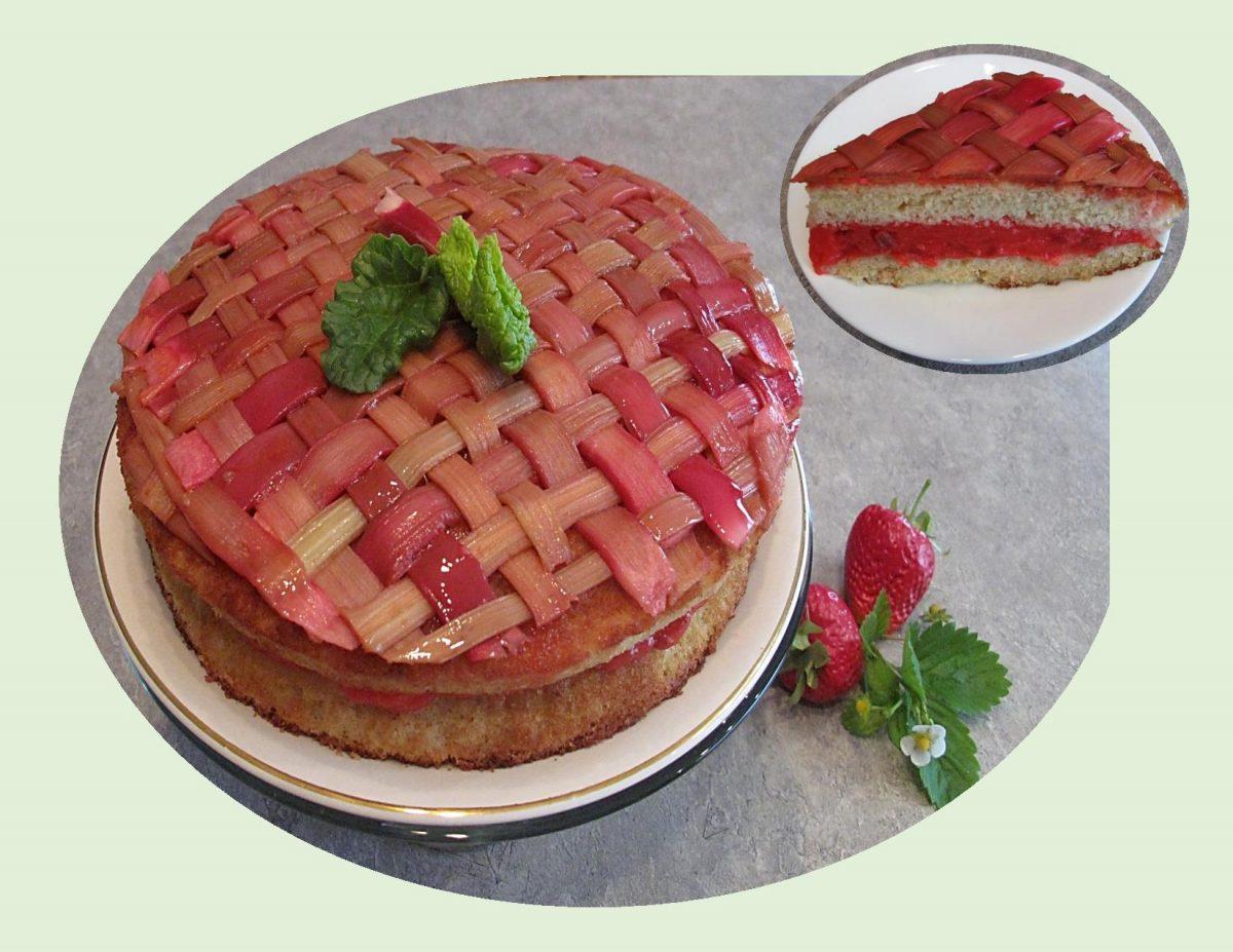 Rhubarb Almond Lattice Cake