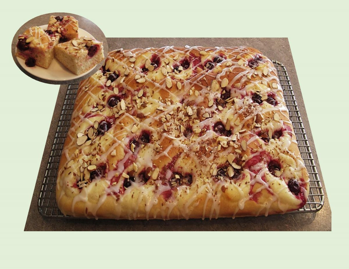 Glazed Sour Cherry Yeast Cake