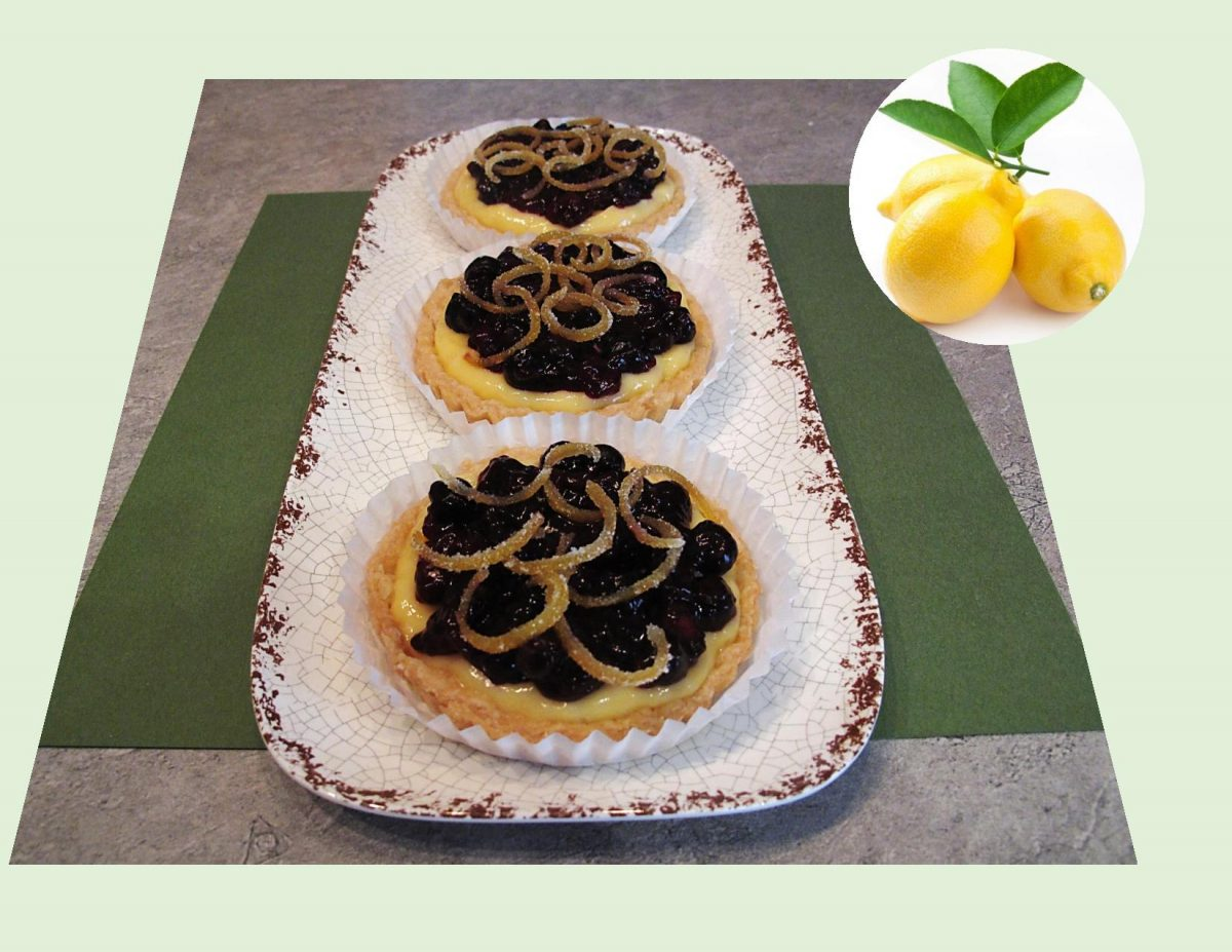 Blueberry Custard Tarts w/ Candied Lemon Curls