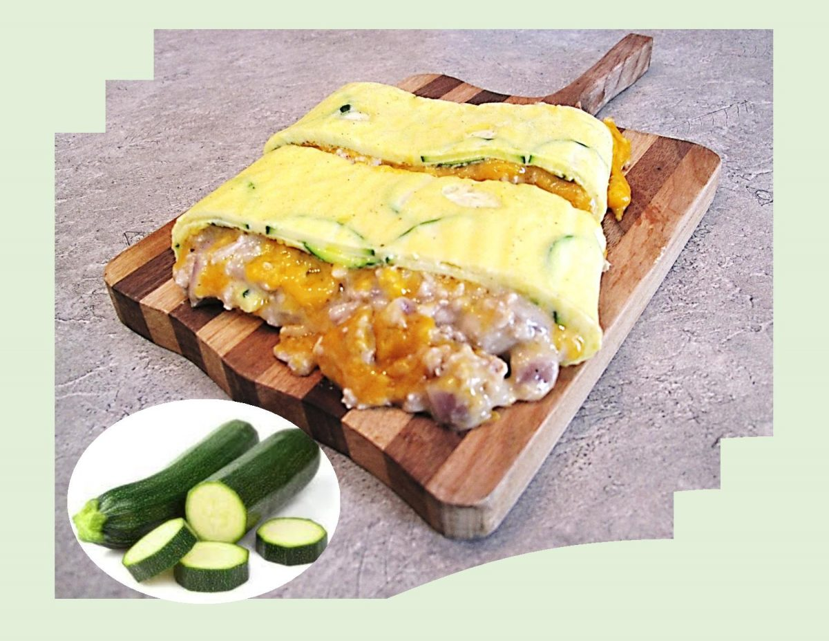 Zucchini Omelette Roll w/ Chicken & Cheese