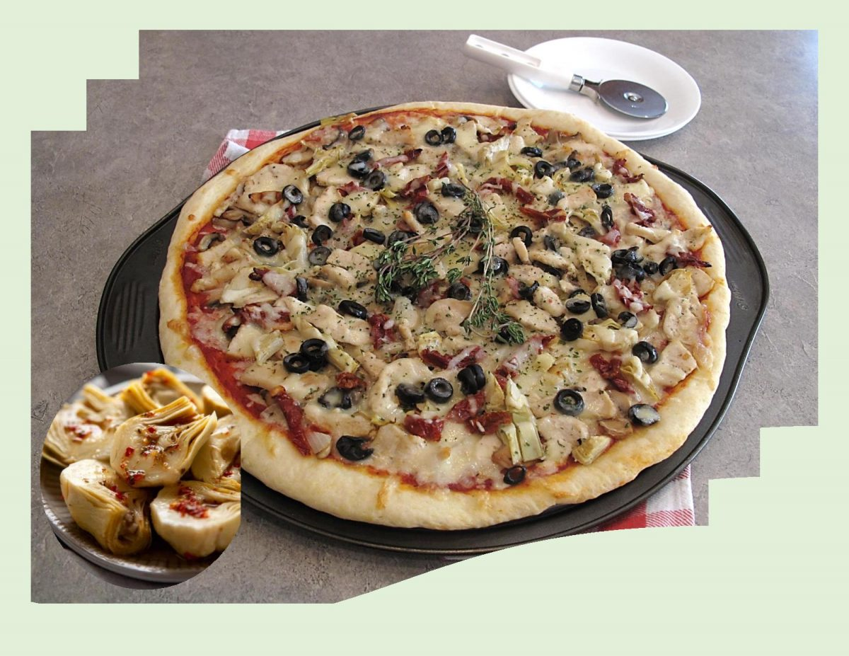 Marinated Chicken & Artichoke Pizza